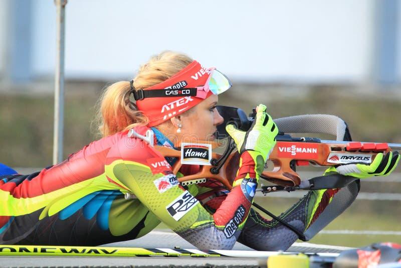 Skytte Gabriela Soukalova - biathlon fotografering för bildbyråer