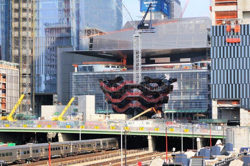 Skyttel under konstruktion, ny gränsmärke av New York, Hudson Yards, Manhattan västra sida, NYC arkivbild