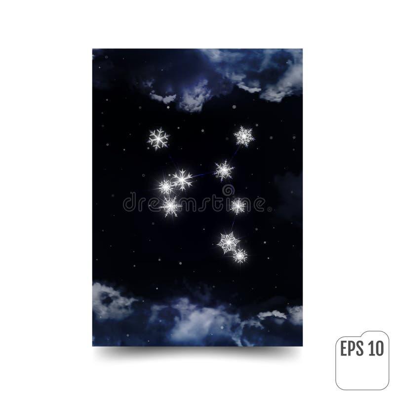 Skyttenkonstellation av snöflingor Zodiac undertecknar sagittariusen royaltyfri illustrationer