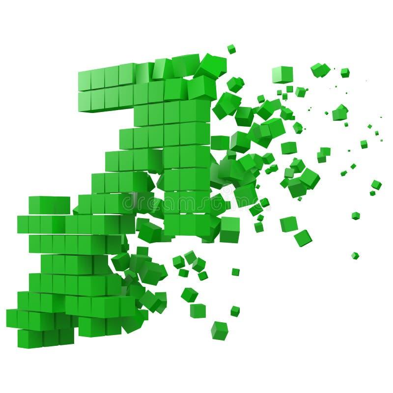 Skyttenzodiaktecknet formade datakvarteret version med gröna kuber f?r stilvektor f?r PIXEL 3d illustration royaltyfri illustrationer
