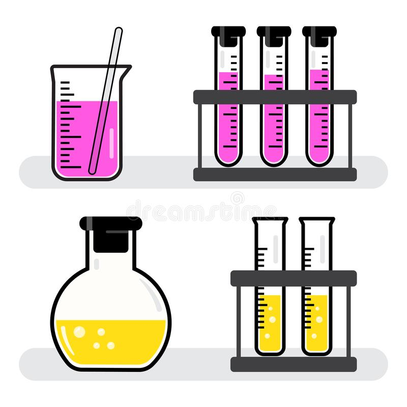 Skyttlar och flaskor för färgrik uppsättning kemiska med rosa gul flytande vektor vektor illustrationer