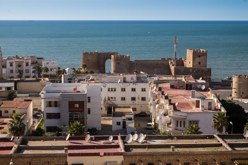 Skyview på Safi och Atlantic Ocean, Marocko royaltyfri fotografi