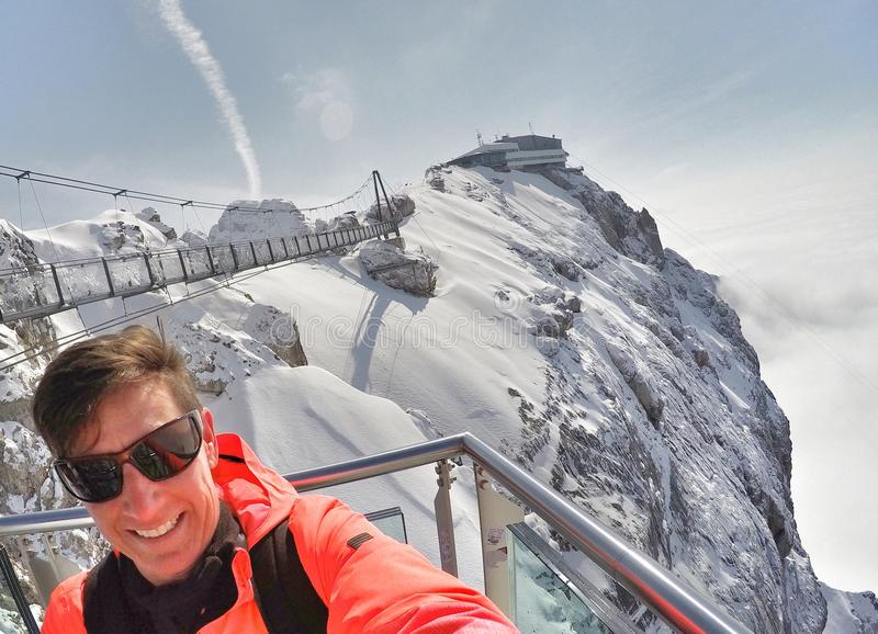 Skywalk at Dachstein mountain glacier, Steiermark, Austria. Observation deck at Dachstein/Hunerkogel mountain glacier in the Alps located at Steiermark, Austria stock image