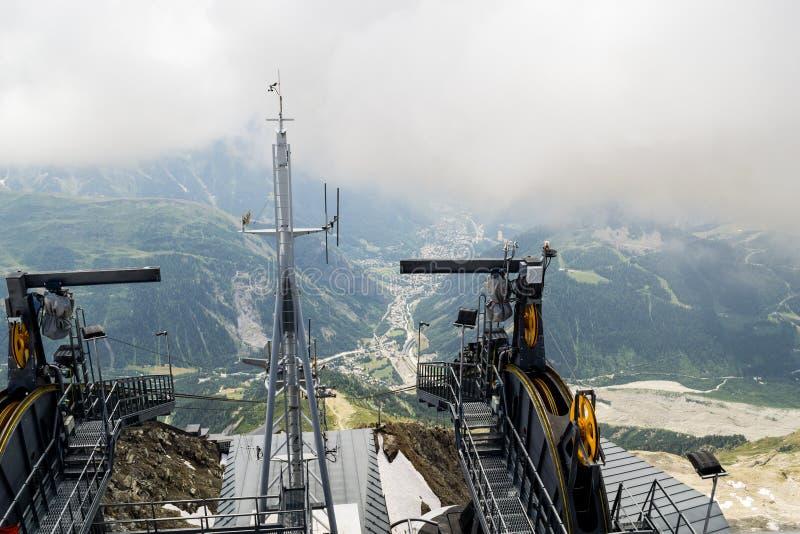 Skyway, de kabelbaanpost op Mont Blanc stock afbeelding