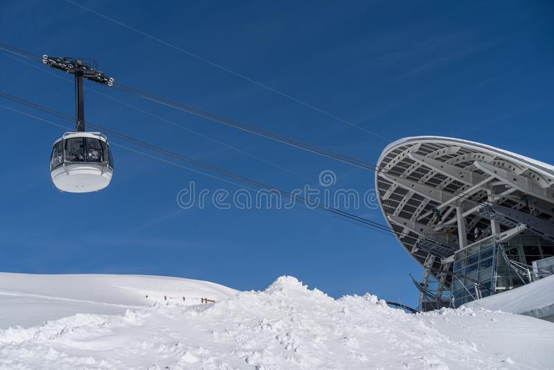 Skyway Monte Bianco, Courmayeur, Italien stockfotos