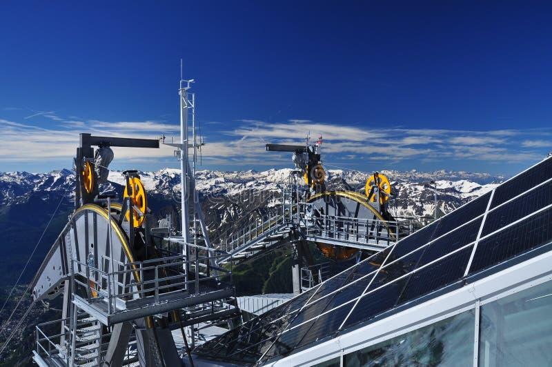 Skywaykabelbaan in Mont Blanc, Alpen, Italië stock afbeelding