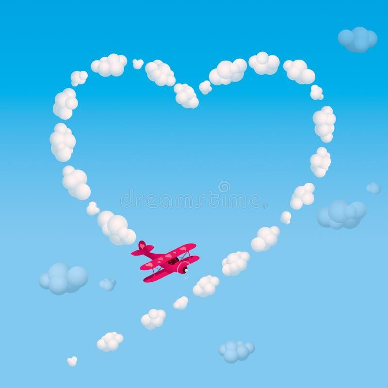 Skywriting um coração ilustração stock
