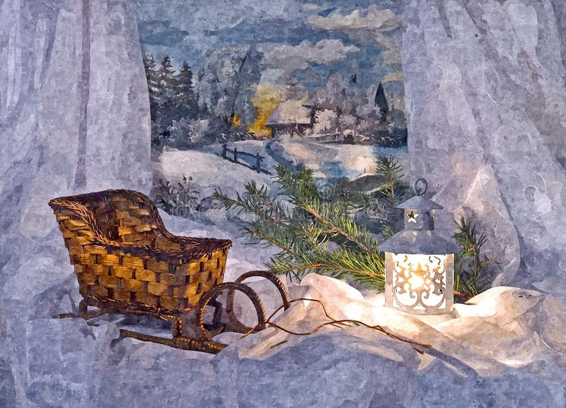 Släde Santa Claus jullivstid fortfarande Måla den våta vattenfärgen på papper Lättrogen konst göra sammandrag konst Teckningsvatt vektor illustrationer