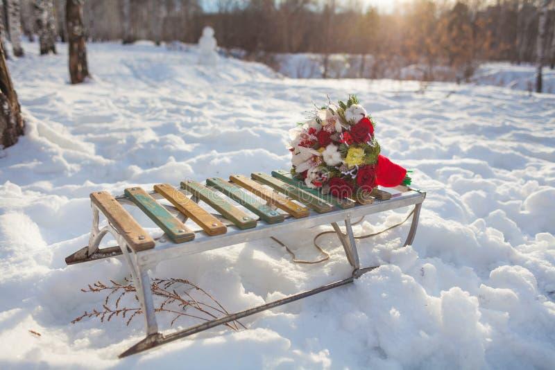 Släde som sledding, vit, snö, sportar, släde, gyckel, utomhus, förkylning, berg, bakgrund, natur, trä, blommor, blomma, gyckel, v arkivbild