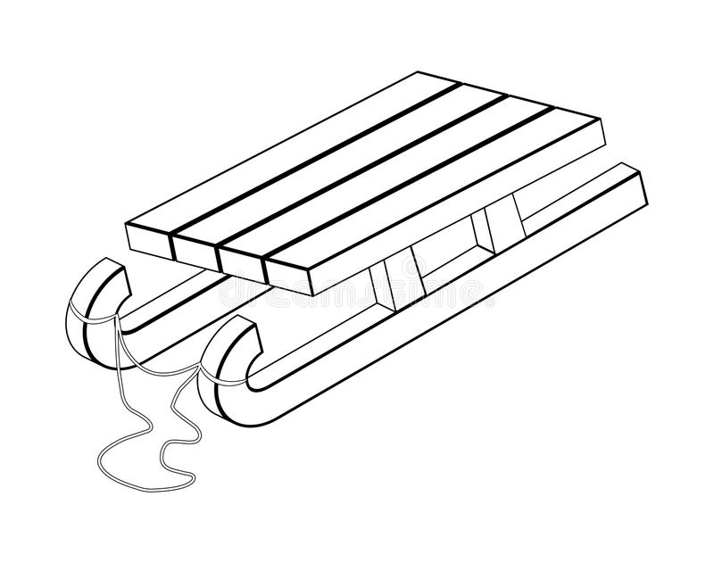Släde träpulkakontur, desig för symbol för översiktsvektorsymbol royaltyfri illustrationer