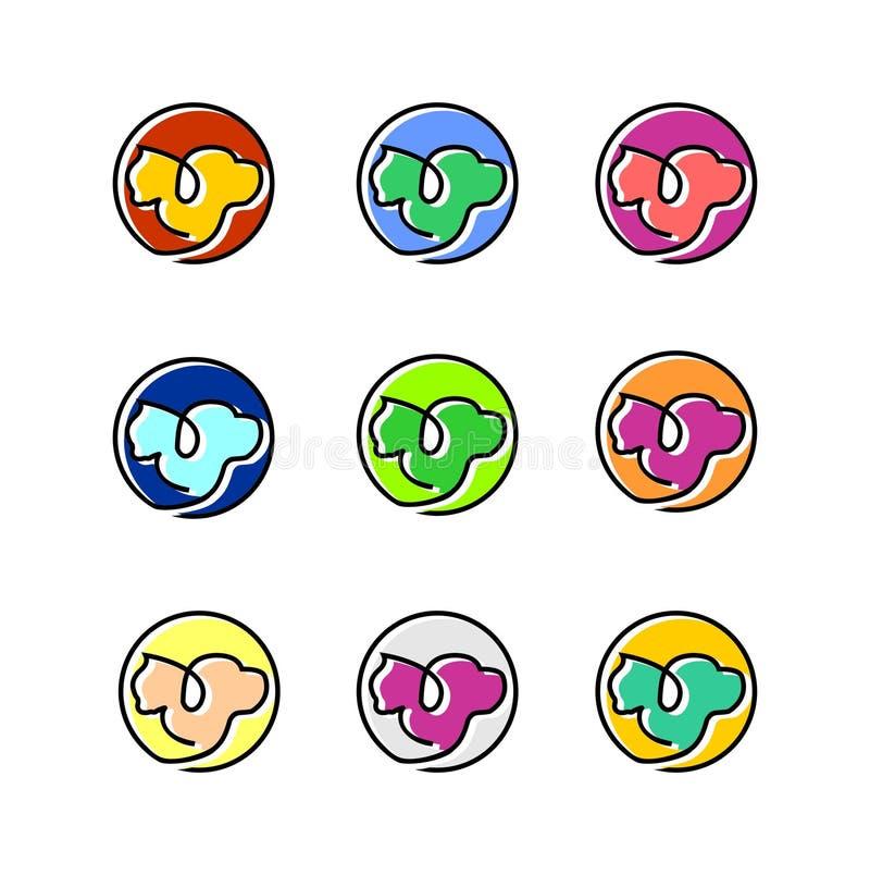 Släkt illustration för katt- och hundhusdjur med den olika mallen för logo för färgpalett vektor illustrationer