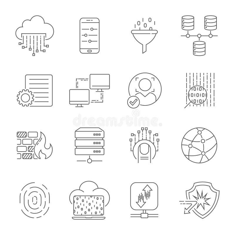 Släkt linje symbolsuppsättning för datateknik Samling för symbol för vektor för alternativ för dataöverföring och datorlinjär red stock illustrationer