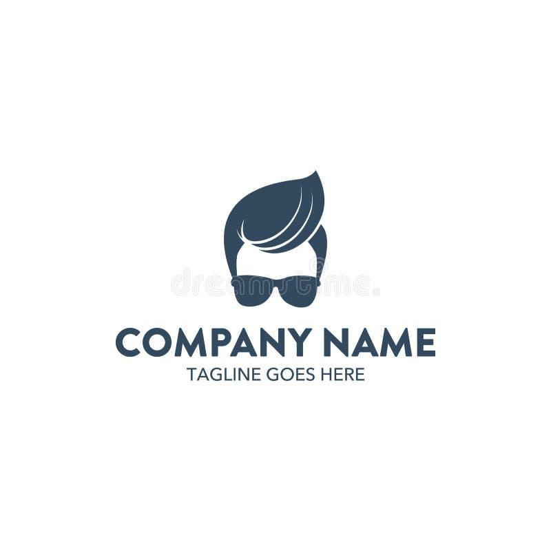 Släkt logomall för unik frisersalong vektor redigerbart royaltyfri illustrationer