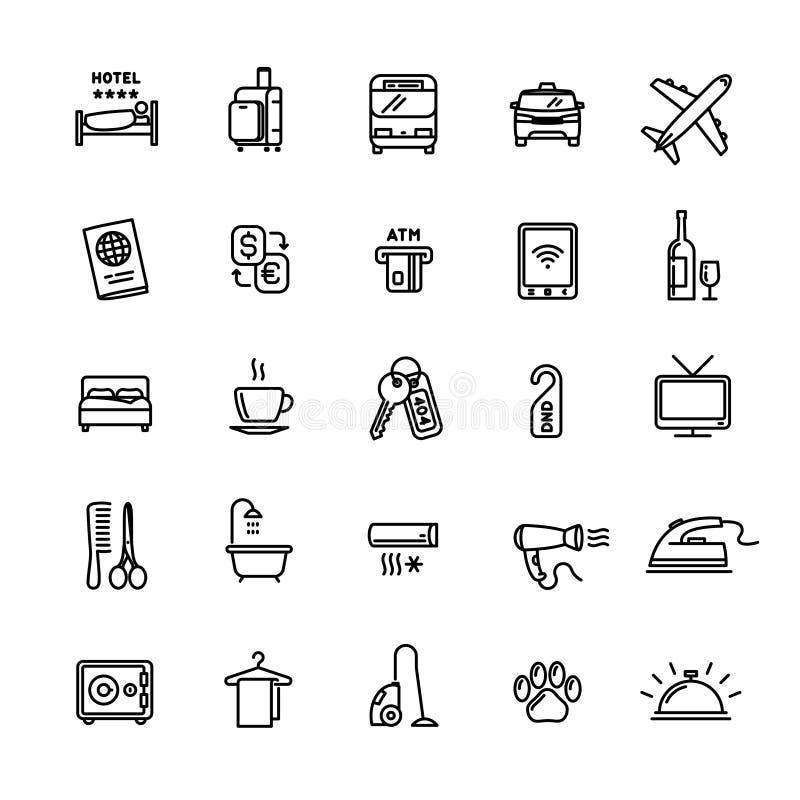 Släkt uppsättning för vektorhotellservice av 25 ljusa översiktssymboler royaltyfri illustrationer