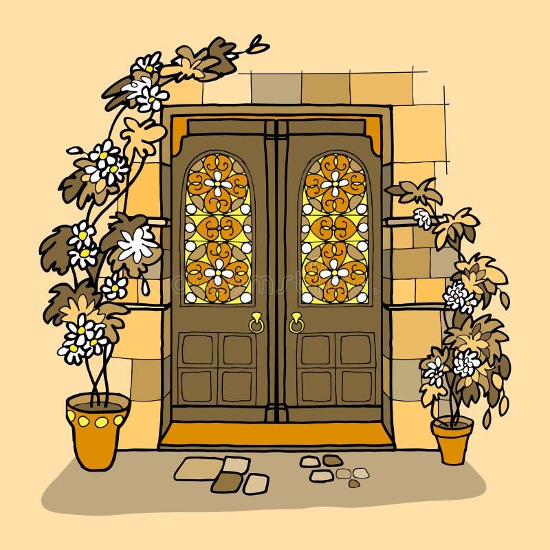 släkt utgångspunkt för dörringångsframdel vektor illustrationer