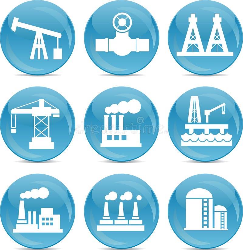 Släkta symboler för fossila bränslen royaltyfri illustrationer