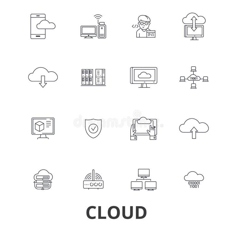 Släkta symboler för molnteknologi royaltyfri illustrationer