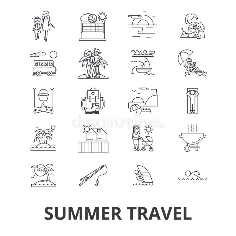 Släkta symboler för sommarlopp royaltyfri illustrationer