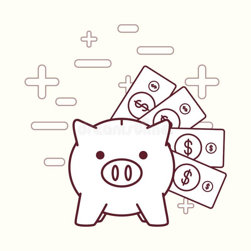 Släkta symboler för spargris och för pengar stock illustrationer