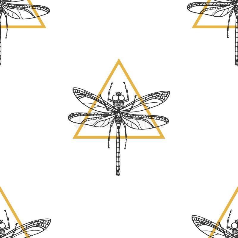 Slända Sömlös modell av kryp på vit bakgrund för designeps för 10 bakgrund vektor för tech vektor illustrationer