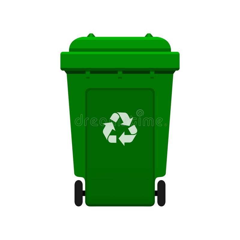 Slänga i soptunnan, återanvänd det plast- gröna wheeliefacket för avfalls som isoleras på vit bakgrund, det gröna facket m royaltyfri illustrationer