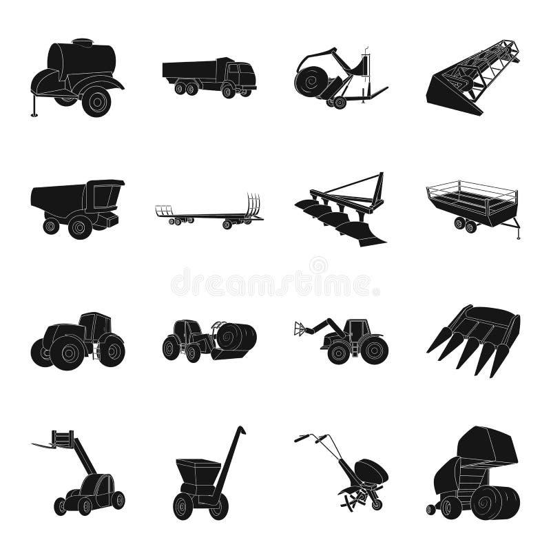 Släp, dumper, traktor, laddare och annan utrustning För uppsättningsamling för jordbruks- maskineri symboler i svart stilvektor vektor illustrationer