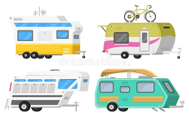 Släp eller campa husvagn för familjRV Turist- buss och tält för utomhus- rekreation och lopp Husvagn som används som permanent he royaltyfri illustrationer