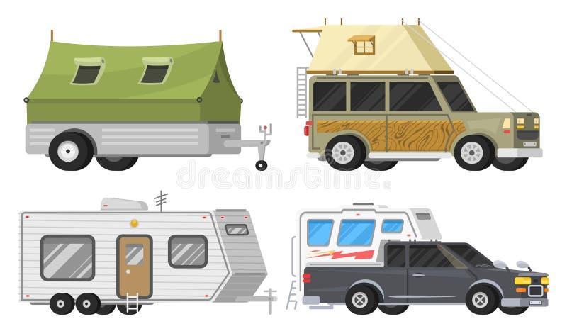 Släp eller campa husvagn för familjRV Turist- buss och tält för utomhus- rekreation och lopp Husvagn som används som permanent he stock illustrationer