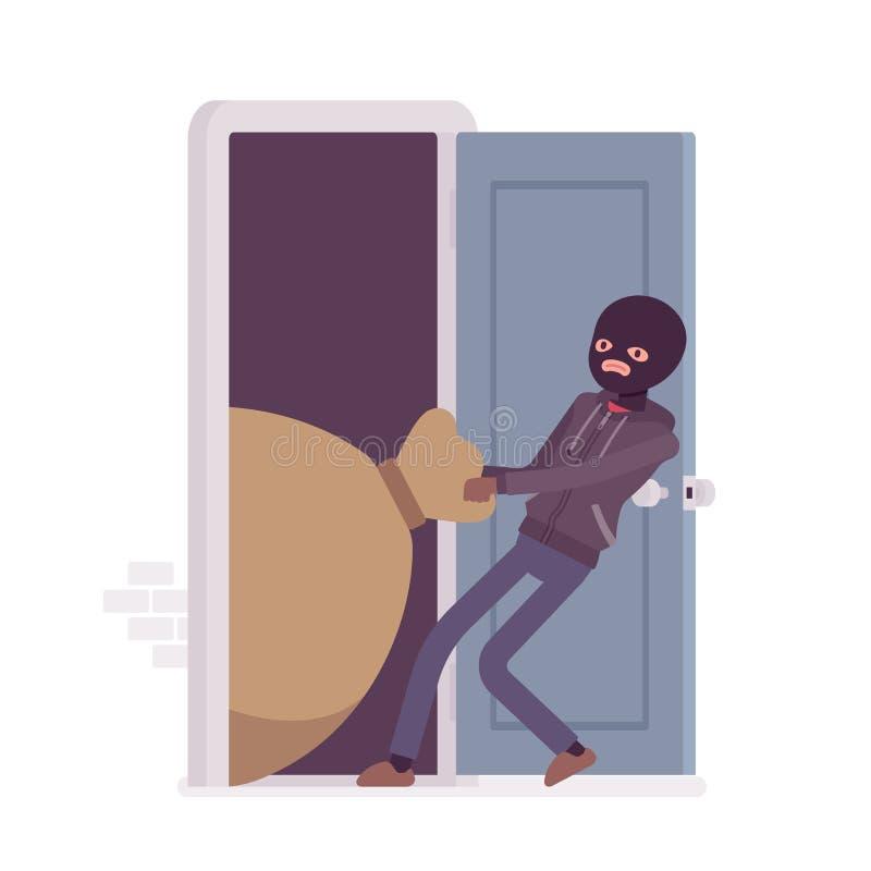 Släpande byte för tjuv till och med dörren vektor illustrationer