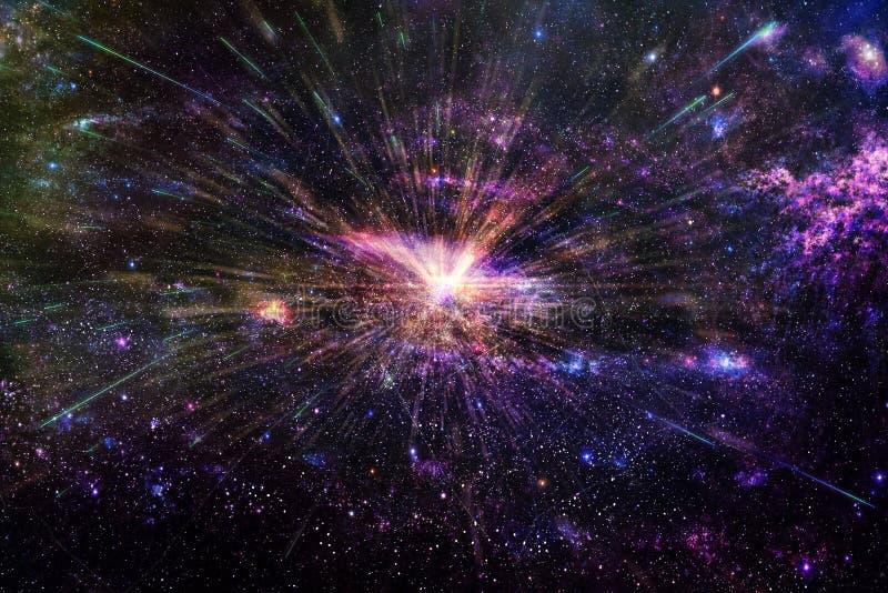 Slät galax för konstnärligt abstrakt mörkt tema med en glödande mittbakgrund royaltyfri fotografi