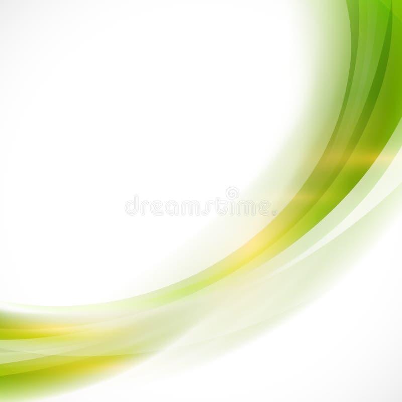 Slät grön flödesbakgrund, vektor & illustration för abstrakt kurva vektor illustrationer