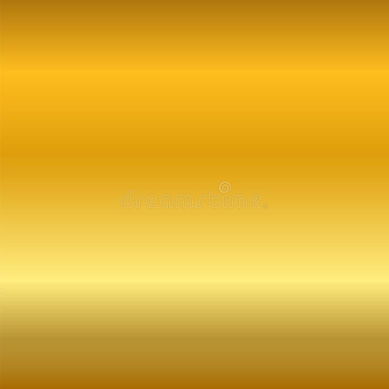Slät textur för guld- lutning Tom guld- metallbakgrund Ljus metallisk plattamall, abstrakt modell brigham royaltyfri illustrationer