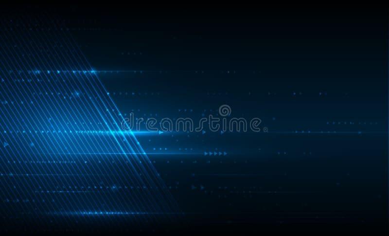 Släta linjer för vektorillustration i mörker - blå färgbakgrund vektor illustrationer