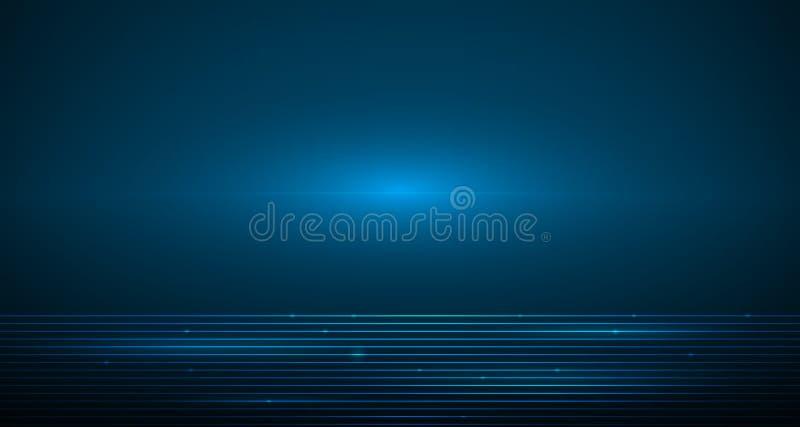 Släta linjer för vektorillustration i mörker - blå färgbakgrund stock illustrationer