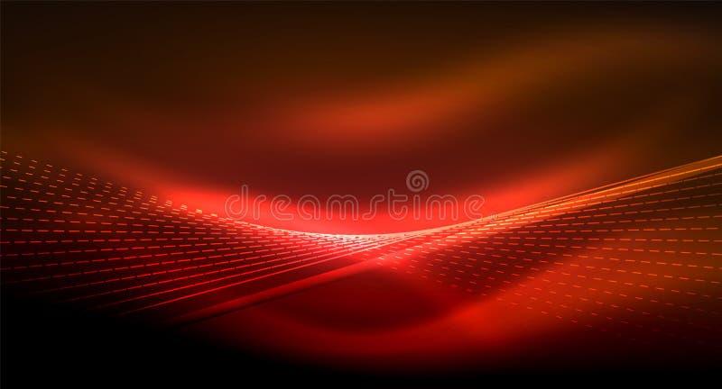 Släta ljus effekt, raka linjer på glödande skinande neonmörkerbakgrund Idé för energiteknologi stock illustrationer