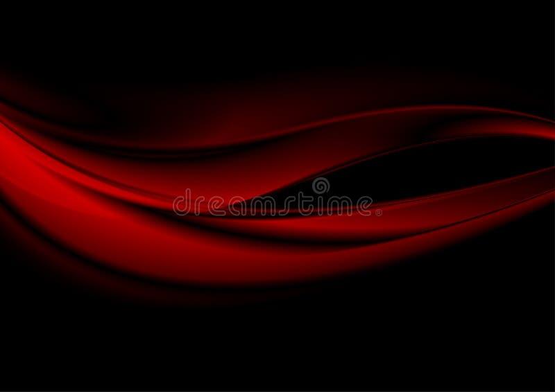 Släta röda vågor för abstrakt begrepp på svart bakgrund royaltyfri illustrationer