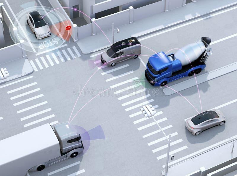 Släta trafik i tvärgata Begrepp för autonom teknologi för fördel royaltyfri illustrationer