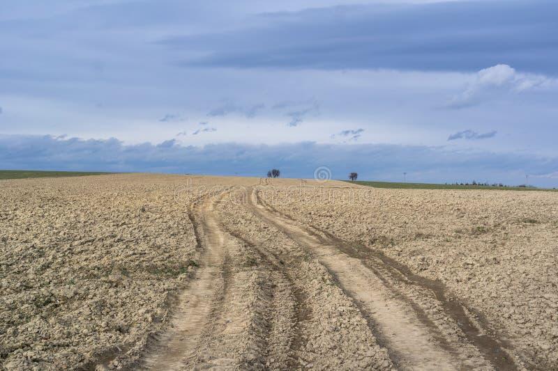Slätt och plant jordbruksmark och fält royaltyfria bilder