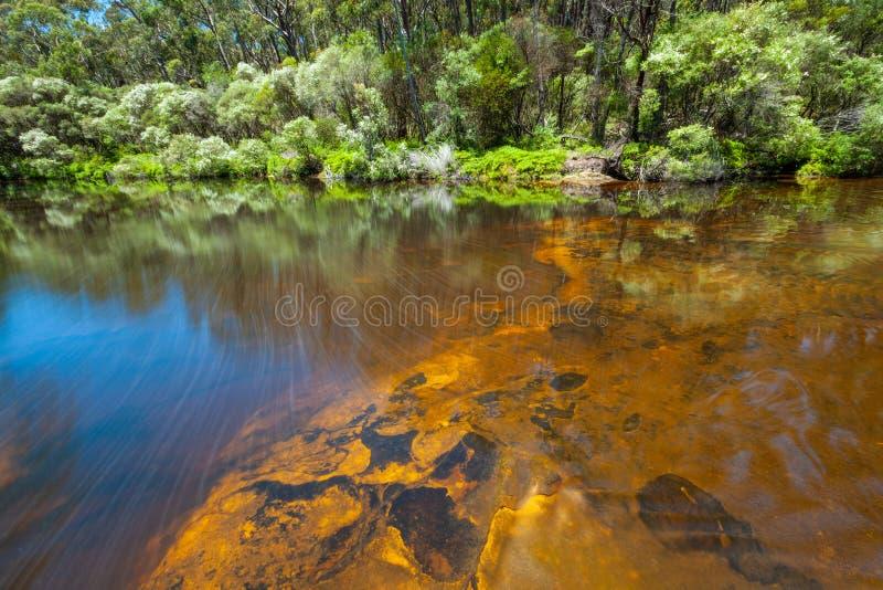 Slätt vattenflöde över orange vaggar royaltyfri foto