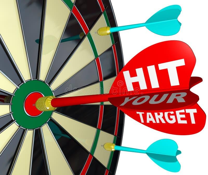 Slå din målpil på darttavla uppnår framgång stock illustrationer