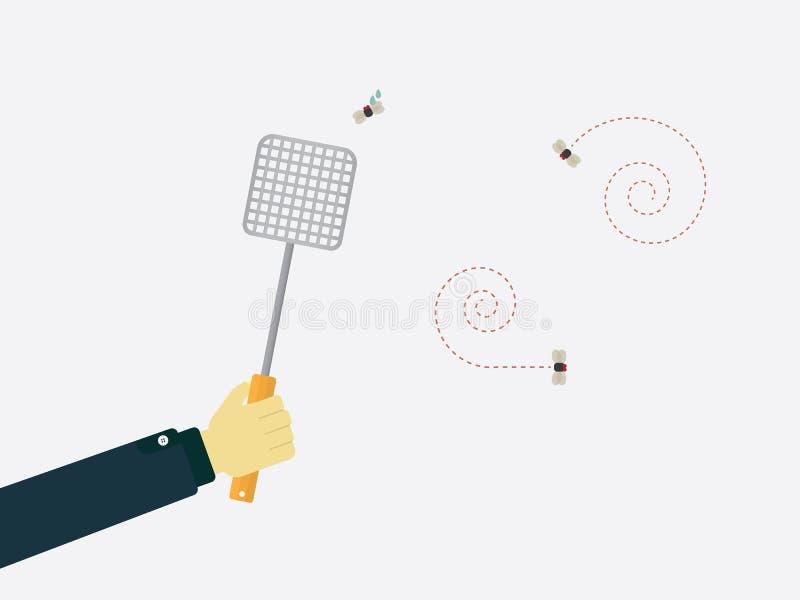 Slå flugan royaltyfri illustrationer