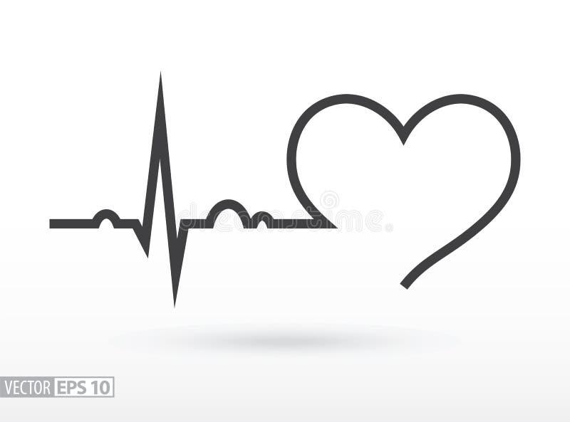 slå hjärta cardiogram Hjärt- cirkulering för svart ändringssymbolslever medicinsk för skydd white enkelt royaltyfri illustrationer