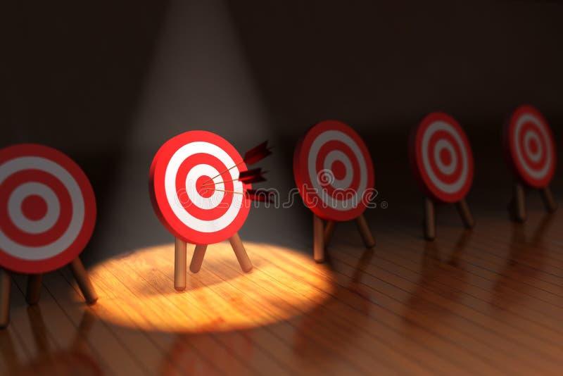 Slå målbegreppet, den lyckade affärsstrategin och uppsätta som mål royaltyfri illustrationer