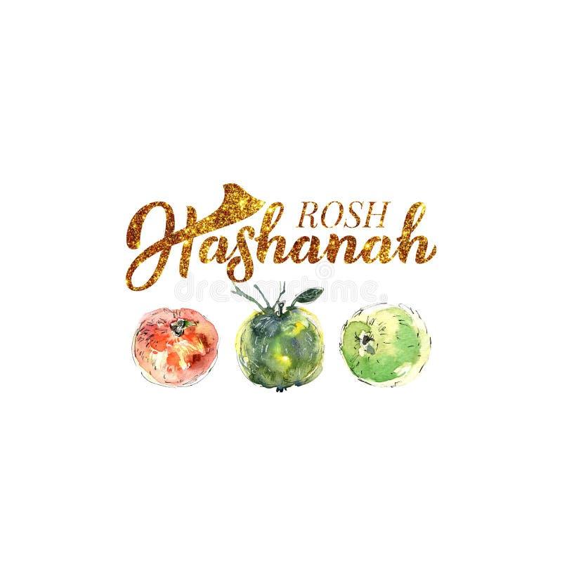 slående år för shofar för rosh för pojkehashanah judiskt nytt Judiskt nytt år Räcka bokstäver och vattenfärgillustrationen för ba royaltyfria foton