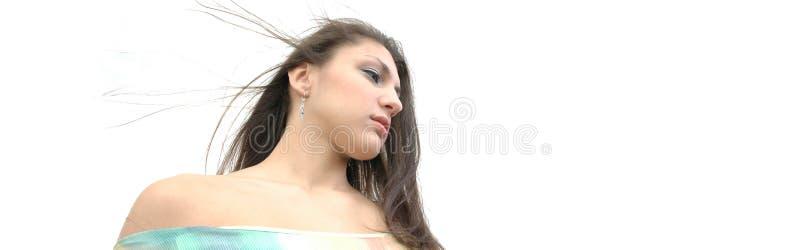 slående hår henne wind arkivfoton