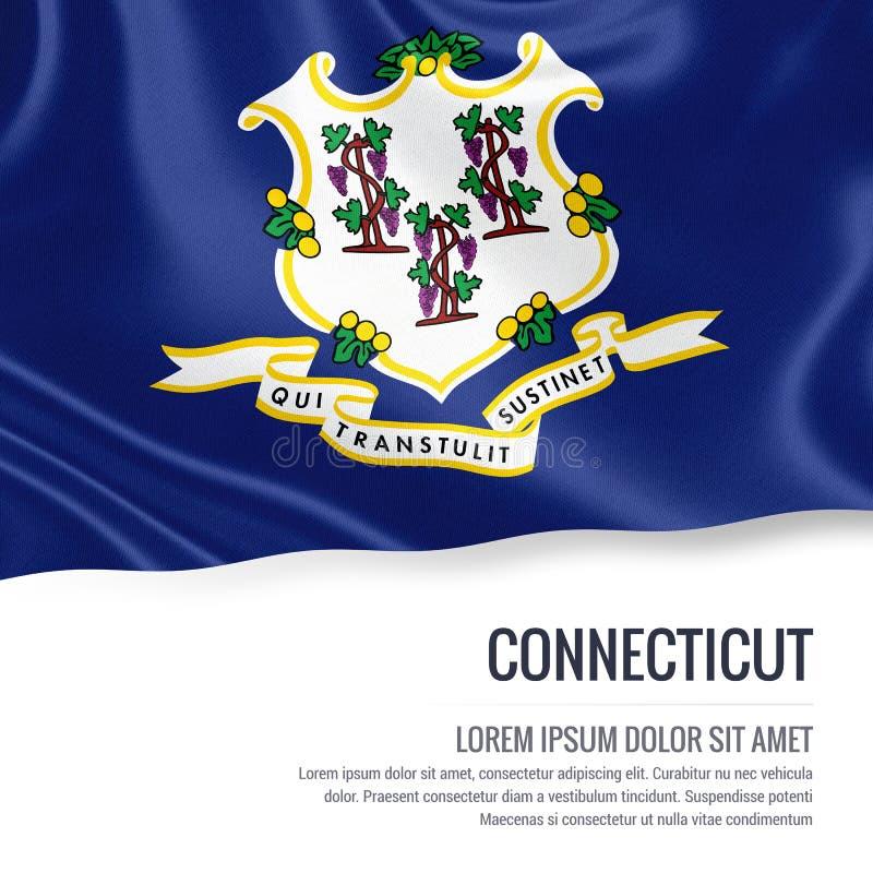 slående wind för flagga s u S statliga Connecticut som vinkar på en isolerad vit backg royaltyfri illustrationer