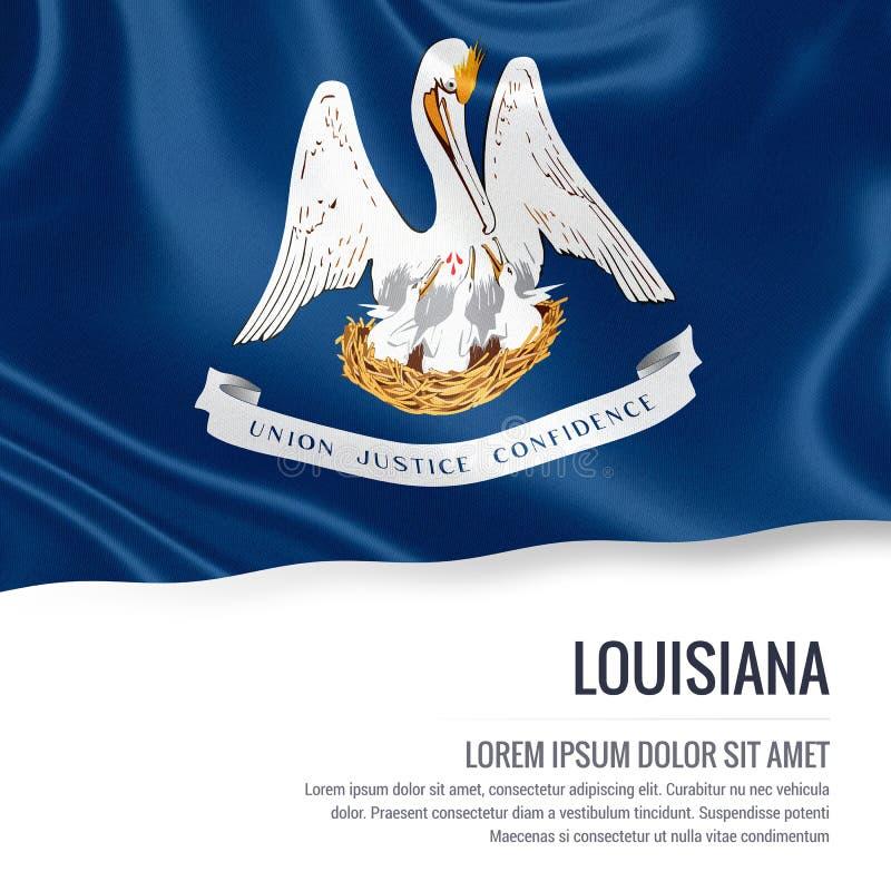 slående wind för flagga s u S statliga Louisiana som vinkar på en vit backgro vektor illustrationer