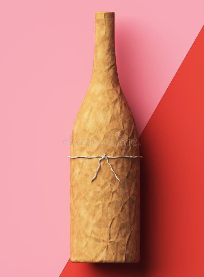 Slågen in champagneflaska i kraft papper på röd och rosa bakgrund stock illustrationer