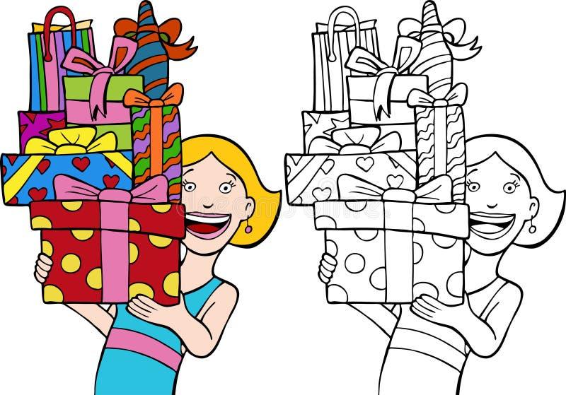 slågna in gåvor vektor illustrationer
