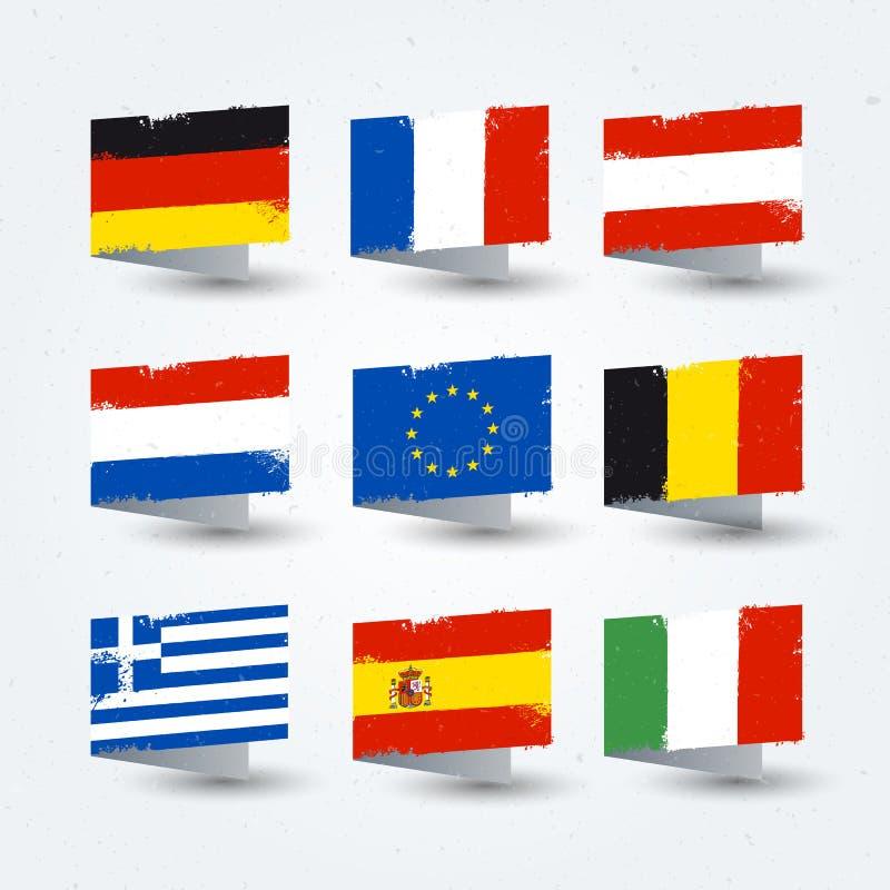 Slår den färgrika borsten för vektorillustrationen den målade världen, flaggor för europeiska länder, textur somsymboler ställer  royaltyfri illustrationer